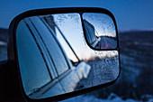 frozen-over rear view mirror