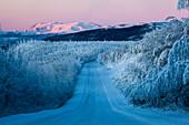 Snow covered landscape at Dalton Highway, Yukon-Koyukuk Census Area, Alaska, USA