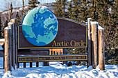 Arctic Circle Sign along the Dalton Highway, Yukon-Koyukuk Census Area, Alaska, USA