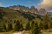 Mountain biker in the Sella area, Pizes de Cir in the background, Trentino, South Tyrol, Italy