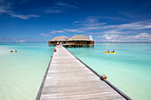 Water villas and kayak at Meeru Island Resort, Meerufenfushi, North-Male-Atoll, Maldives