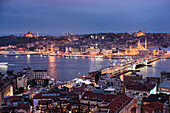 Mosques at night in the historical Sultanahmet District of Istanbul, seen across the Golden Horn, Istanbul, Turkey, Europe