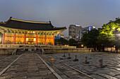 Junghwa-jeon Throne Hall, Deoksugung Palace, traditional Korean building, illuminated at dusk, Seoul, South Korea, Asia