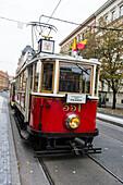 Old fashioned tram, Prague, Czech Republic, Europe