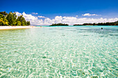 Muri Beach and Motu Taakoka Island in Muri Lagoon, Rarotonga, Cook Islands, South Pacific, Pacific