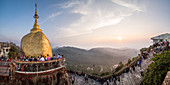 Golden Rock Stupa Kyaiktiyo Pagoda at sunset, Mon State, Myanmar Burma, Asia