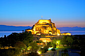 Elevated view of Old Fortress and Maitland Rotunda, Corfu Old Town, Corfu, The Ionian Islands, Greek Islands, Greece, Europe