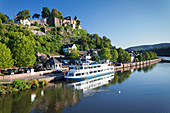 Excursion boat on Saar River, castle ruin, Saarburg, Rhineland-Palatinate, Germany, Europe