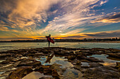 Beautiful evening for surfing at Bondi Beach, Sydney, New South Wales, Australia, Pacific