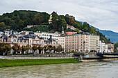 View over Salzburg and the Salzach River, Salzburg, Austria, Europe