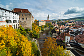 View over Cesky Krumlov and the Vltava River, UNESCO World Heritage Site, Czech Republic, Europe