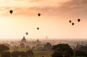 Hot air balloons over the temples of Bagan Pagan, Myanmar Burma, Asia
