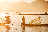 Traditional fisherman on Inle lake, Shan State, Myanmar Burma, Asia