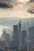 View of Hong Kong Island skyline at dawn, Hong Kong, China, Asia