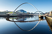 Day view of Gateshead Millennium Bridge, River Tyne, Newcastle Upon Tyne, Tyne and Wear, England, United Kingdom, Europe