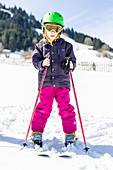 boy skiing on the slope , Pfronten, Allgaeu, Bavaria, Germany