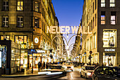 Christmas illuminations at the  Jungfernstieg in Hamburg with view to the shopping street Am Neuen Wall, north Germany, Germany