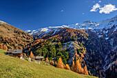 Almhütten mit herbstlich verfärbten Lärchen und Schneeberge, Glocknergruppe, Hohe Tauern, Nationalpark Hohe Tauern, Osttirol, Tirol, Österreich