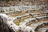 Close up of the ruined seating at an ancient stadium and race track, Delphi, Greece