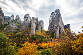 Rugged cliffs and autumn foliage, Meteora, Greece