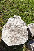 Inscription on a broken stone tablet, Philippi, Greece