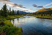 The Lapie River flows through the wilderness along the South Canol Road, Yukon, Canada