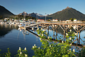 Scenic view of the pier in Sitka Harbor and the mountains in the background, Southeast Alaska, USA, Summer