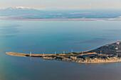 Aerial view of the Fire Island Wind turbine farm, Fire Island, Anchorage, Southcentral Alaska, USA, Summer