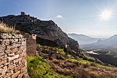 Ruined buildings on a mountain, Corinth, Greece