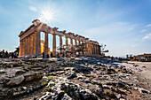 Tourists at the Acropolis of Athens, Athens, Greece