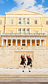 Hellenic Parliament, the Parliament of Greece, located in the Parliament House overlooking Syntagma Square, Athens, Greece
