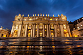 St. Peter's Basilica at nighttime, Rome, Italy