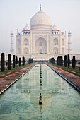 Taj Mahal reflected in long pool, Agra, Uttar Pradesh, India