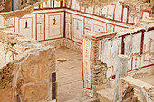 Ancient stone walls and artwork in a museum, Ephesus, Izmir, Turkey