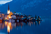 Hallstatt at Lake Hallstatt at twilight, UNESCO World Heritage Site The cultural landscape Hallstatt-Dachstein / Salzkammergut, Upper Austria, Austria