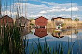 Boathouses, Rust, UNESCO World Heritage Site The Cultural Landscape Fertoe-Lake Neusiedl, Burgenland, Austria