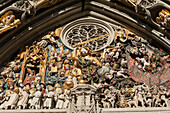 Gothic figures and ornaments at cathedral gate, UNESCO World Heritage Site Old Town of Bern, Canton of Bern, Switzerland