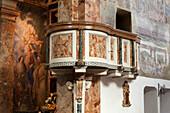 Arzo, village church, marble pulpit, UNESCO World Heritage Site Monte San Giorgio, Ticino, Switzerland