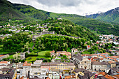 View from Castelgrande to town and castles, UNESCO World Heritage Site Three Castles, fortresses and ramparts of Bellinzona, Ticino, Switzerland