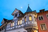 old town at dusk, St. Gallen, Canton of St. Gallen, Switzerland