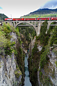 Solis Viaduct, UNESCO World Heritage Site Rhaetian Railway in the Albula, Kanton Graubuenden, Switzerland