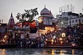 Fire ritual Ganga Aarti along the river Ganges in Haridwar, Uttarakhand, India