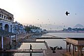 Ghats at lake Pushkarsee, Pushkar, Rajasthan, India