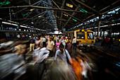 Railway platform at Chhatrapati Shivaji Terminus, Mumbai, Maharashtra, India