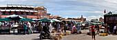 Panorama of Jemaa El Fna market square, Marrakech, Morocco