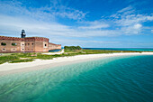 Turquoise waters and white sand beach in front of Fort Jefferson, Dry Tortugas National Park, Florida Keys, Florida, United States of America, North America