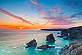 Sunset, Carnewas and Bedruthan Steps, Cornwall, England, United Kingdom, Europe