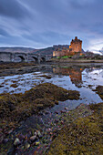 Eilean Donan Castle at twilight, Dornie, Scotland, United Kingdom, Europe