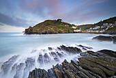The picturesque village of Polperro on the dramatic Cornish coastline, Cornwall, England, United Kingdom, Europe