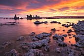 Colourful sunrise above Mono Lake, California, United States of America, North America